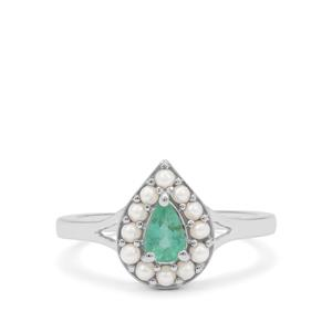 Zambian Emerald Ring with Kaori Cultured Pearl in Sterling Silver