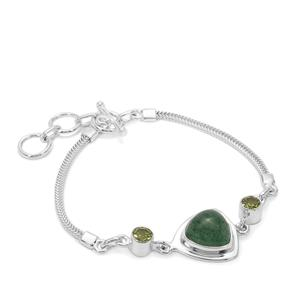 Kiwi Quartz Bracelet with Red Dragon Peridot in Sterling Silver 8cts