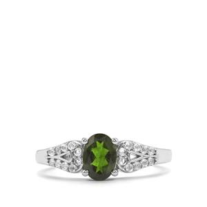 Chrome Diopside & White Topaz Sterling Silver Ring ATGW 1.12cts