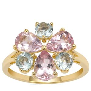 Cherry Blossom™ Morganite Ring with Aquaiba™ Beryl in 9K Gold 2.50cts