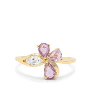 Rose Cut Purple Sapphire Ring with White Zircon in 9K Gold 1.19cts