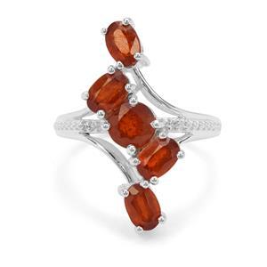 Loliondo Orange Kyanite & White Zircon Sterling Silver Ring ATGW 3.75cts