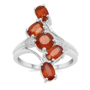 Loliondo Orange Kyanite Ring with White Zircon in Sterling Silver 3.75cts