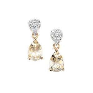 Serenite Earrings with White Zircon in 9K Gold 2.77cts