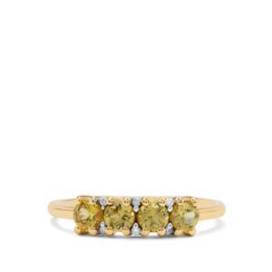 Mansanite™ Ring with Diamond in 9K Gold 0.80ct