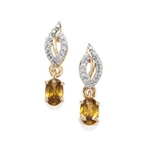 Morafeno Sphene Earrings with Diamond in 9K Gold 1.17cts