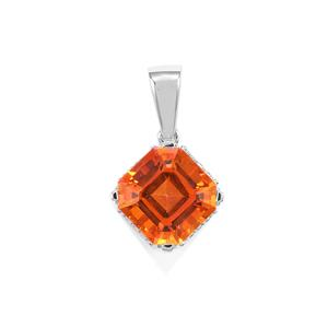 Padparadscha Quartz Asscher Cut Pendant with White Topaz in Sterling Silver 4.59cts