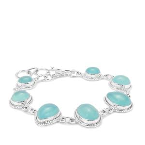Aqua Chalcedony Bracelet in Sterling Silver 30cts