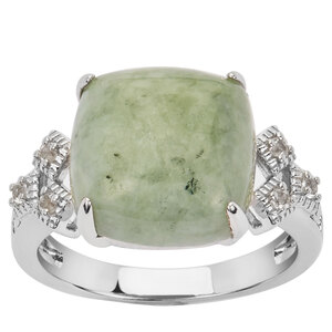 Moss-in-Snow Jade & White Topaz Ring in Sterling Silver 9.94cts