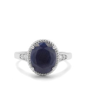 Bharat Blue Sapphire & White Zircon Sterling Silver Ring ATGW 5.08cts