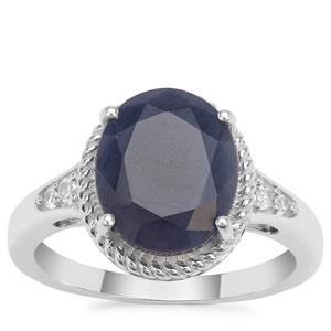 Bharat Blue Sapphire Ring with White Zircon in Sterling Silver 5.08cts