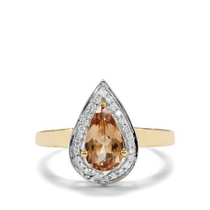 Axinite & Diamond 18K Gold Tomas Rae Ring MTGW 1.26cts