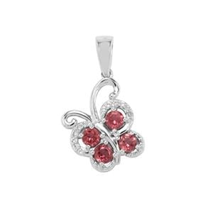 Mahenge Garnet Pendant with White Topaz in Sterling Silver 0.86cts