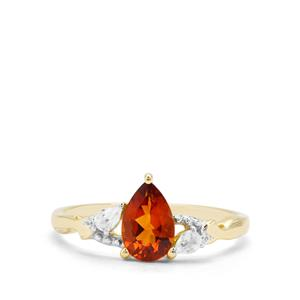 Madeira Citrine & White Zircon 9K Gold Ring ATGW 0.87ct