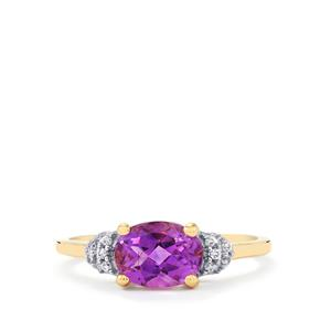 Moroccan Amethyst & White Zircon 9K Gold Ring ATGW 1.22cts