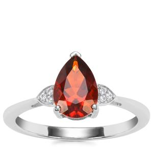 Madeira Citrine Ring with White Zircon in Sterling Silver 1.14cts