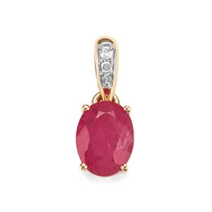 Montepuez Ruby Pendant with Diamond in 9K Gold 1.23cts