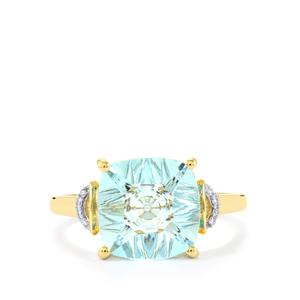 Lehrer QuasarCut Sky Blue Topaz Ring with Diamond in 10k Gold 3.92cts