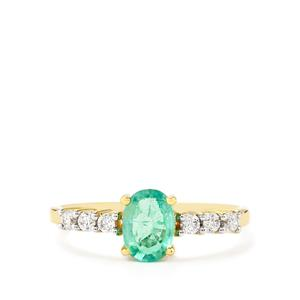 Zambian Emerald Ring with White Zircon in 10k Gold 0.97ct