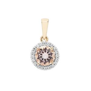 Nigerian Morganite Pendant with White Zircon in 9K Gold 1.47cts
