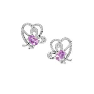Moroccan Amethyst Heart Earrings with White Zircon in Sterling Silver 1.57cts