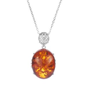 Baltic Cognac Amber Sterling Silver Necklace (26x20mm)