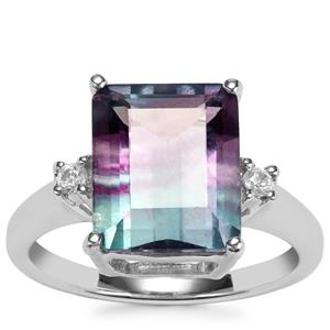 Zebra Fluorite Ring with White Zircon in Sterling Silver 5.83cts