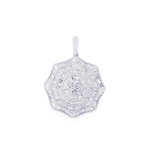 Diamond Pendant in Sterling Silver 1.02cts