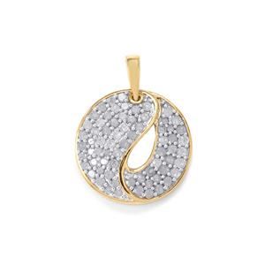 Diamond Pendant in Two Tone Gold Plated Sterling Silver 1ct