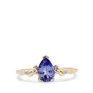 AA Tanzanite Ring with Diamond in 9K Gold 0.93cts