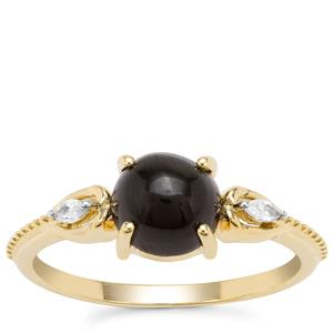 Cats Eye Enstatite Ring with White Zircon in 9K Gold 2.14cts