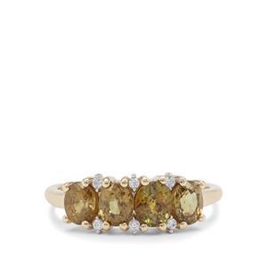 Ambanja Demantoid Garnet Ring with White Zircon in 9K Gold 1.95cts