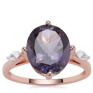 Montezuma Blue Quartz Ring with White Zircon in 9K Rose Gold 4.78cts