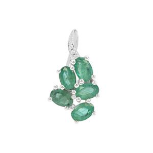 Zambian Emerald Pendant with White Zircon in Sterling Silver 2.04cts