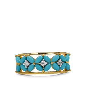 Sleeping Beauty Turquoise Ring with White Zircon in Gold Plated Sterling Silver 1.55cts