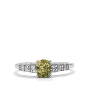 Alexandrite Ring with Diamond in 18K White Gold 0.88cts