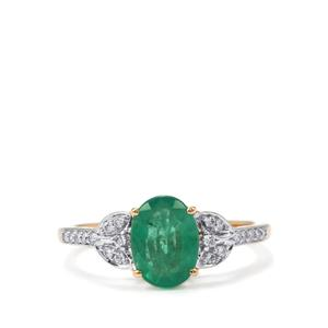 Zambian Emerald Ring with Diamond in 18k Gold 1.53cts