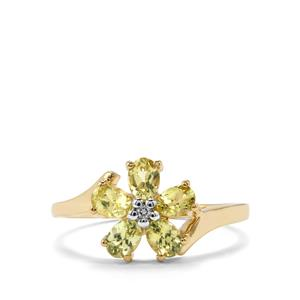 Brazilian Chrysoberyl Ring with White Zircon in 10k Gold 1.02cts