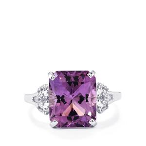 Ametista Amethyst Ring with White Topaz in Sterling Silver 5.54cts