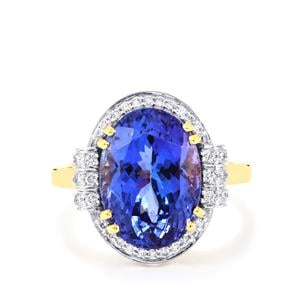 AAA Tanzanite Ring with Diamond in 18K Gold 8.06cts