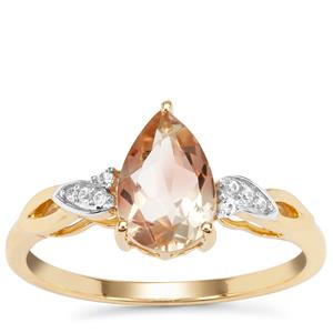 Peach Parti Oregon Sunstone Ring with White Zircon in 9K Gold 1.24cts