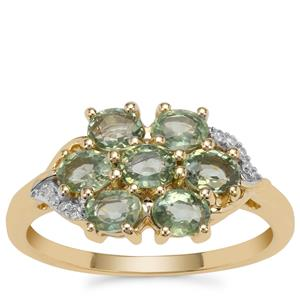 Green Sapphire Ring with Diamond in 9K Gold 1.78cts