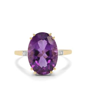 Zambian Amethyst Ring with Diamond in 9k Gold 5.34cts