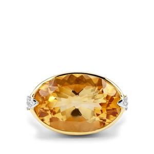 Diamantina Citrine & White Zircon Midas Ring ATGW 9.94cts