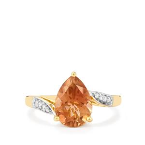 Oregon Sunstone Ring with Diamond in 18k Gold 2.40cts