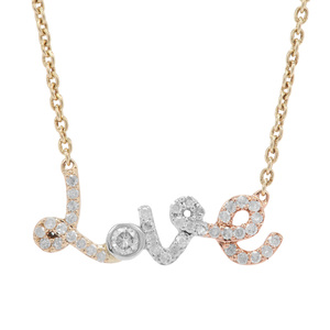Diamond Necklace in 9K Three Tone Gold 0.30ct
