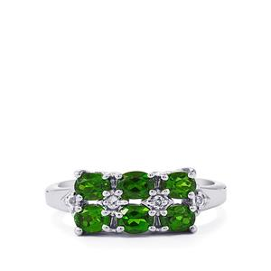 Chrome Diopside & White Topaz Sterling Silver Ring 1.12cts