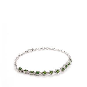 Chrome Diopside Bracelet with White Topaz in Sterling Silver 4.06cts