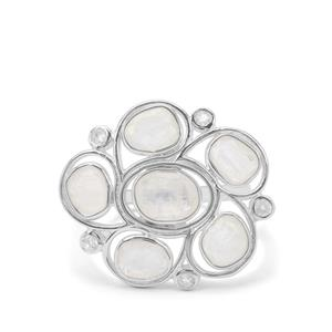 Rainbow Moonstone Ring in Sterling Silver 3.30cts