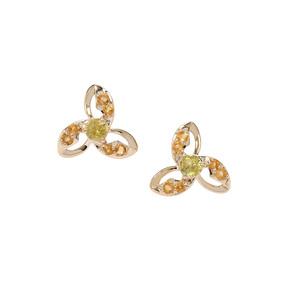 Ambilobe Sphene & Diamantina Citrine 9K Gold Earrings ATGW 0.94ct